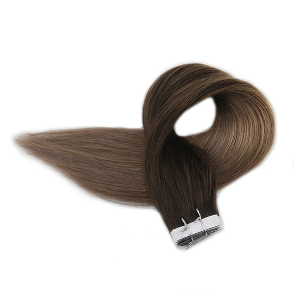 Tape in Hair Extensions Balayage Color Seamless  2 8 18