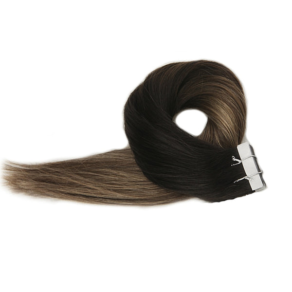 Tape in Hair Extensions Balayage Color Seamless  1B 6 24