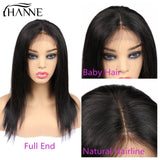 HANNE Hair 4*4 Lace Front Human Hair Wigs Middle Part Straight Hair Glueless Brazilian Wig with Baby Hair for Black Women 1b#