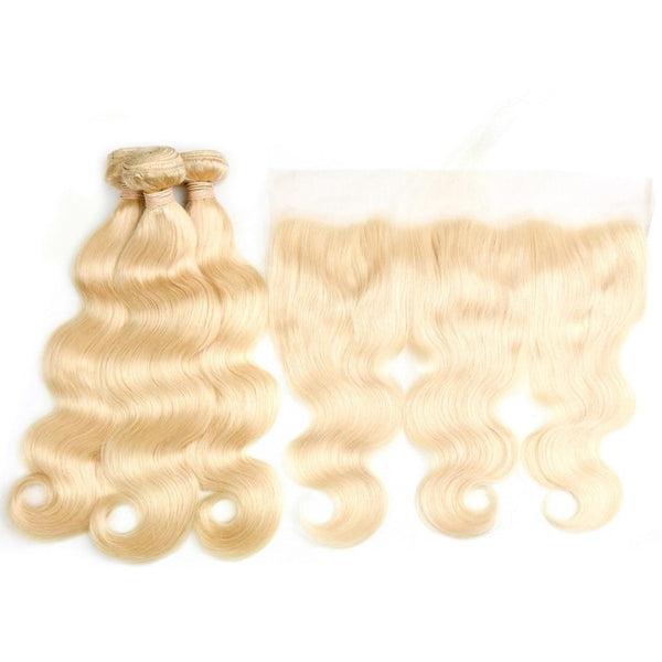 613 Blonde Bundles With Frontal Brazilian Human Hair Lace Frontal
