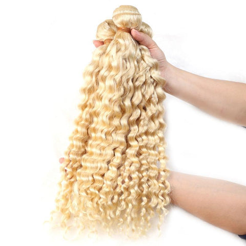 613 Blonde Malaysian Curly Hair Bundle Pure Color
