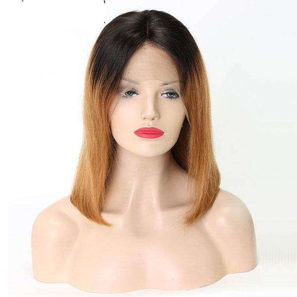 Lace Front Human Hair Wigs  Ombre Color 1B/27 Brazilian