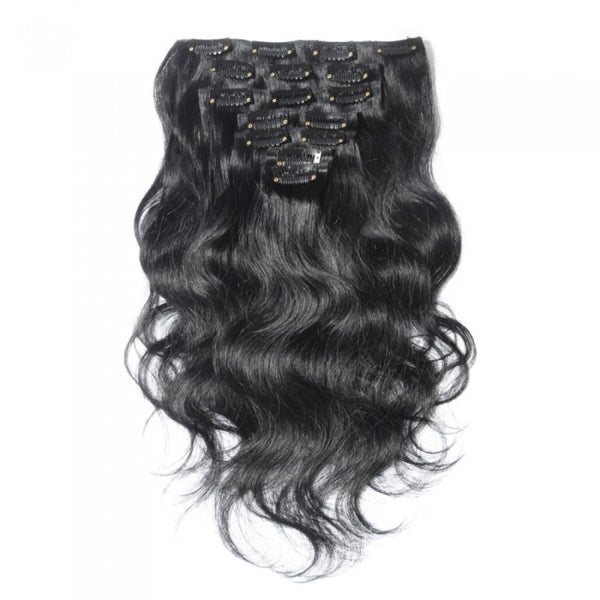 Body Waves Clip Hair Extensions  #1B