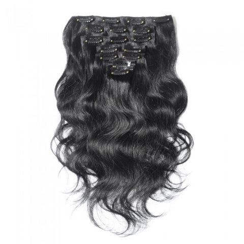 #1 Jet Black 150g Clip In Virgin Body Wave Hair Extensions