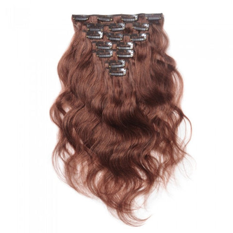#33 Rich Copper Red Clip In Virgin Body Wave Hair Extensions
