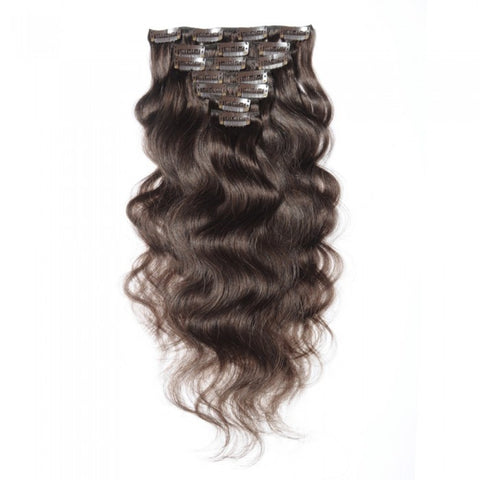 #4 Chocolate Brown Clip In Virgin Body Wave Hair Extensions