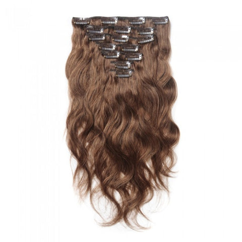 #8 Light Brown Clip In Virgin Body Wave Hair Extensions