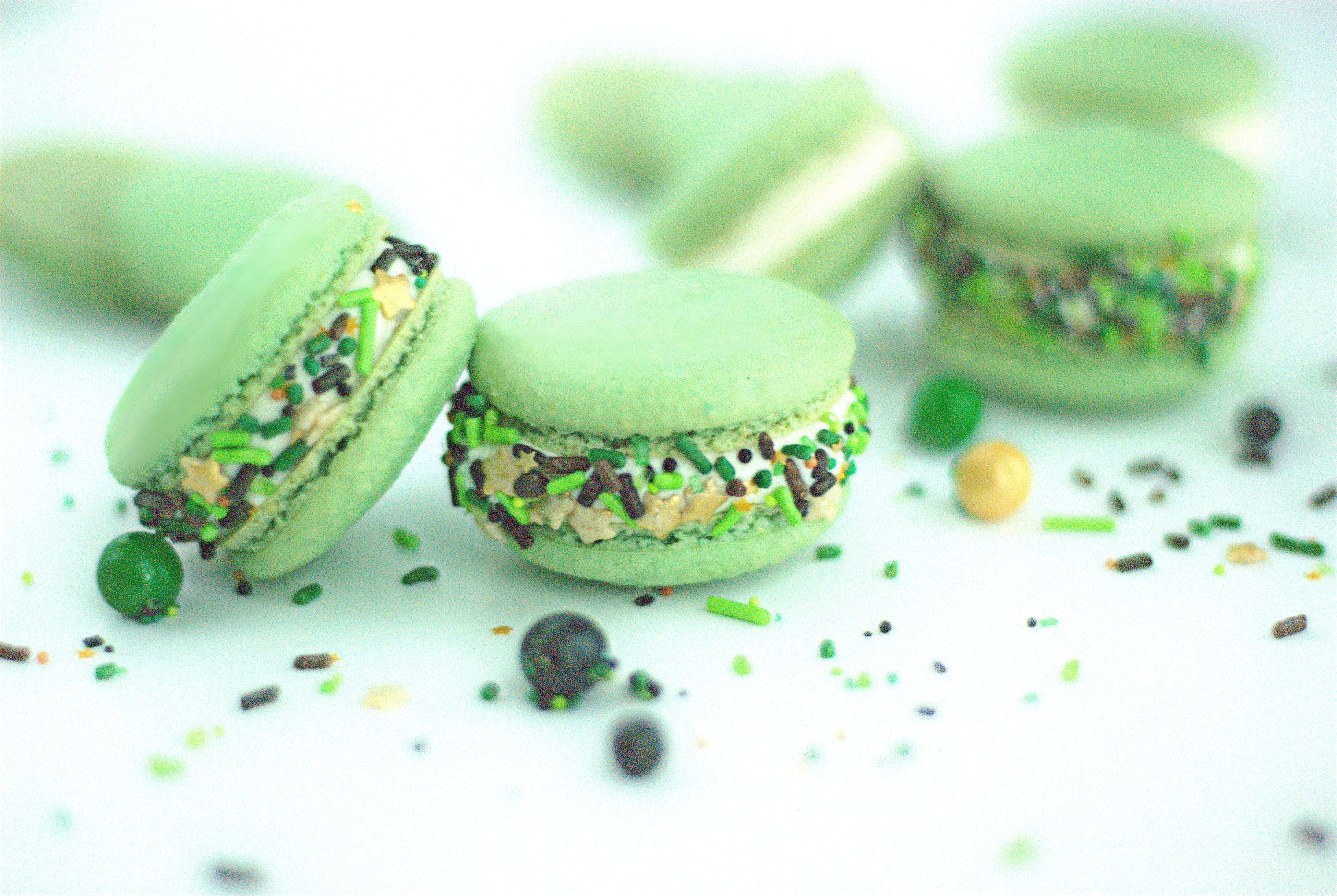 Green Macarons with Camouflage Sprinkles