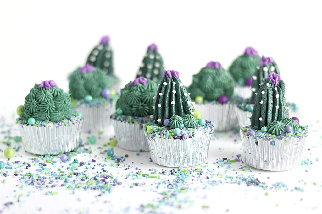 cactus flower cupcakes with sprinkles