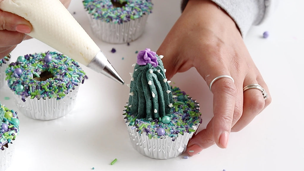 cactus cupcakes with sprinkles