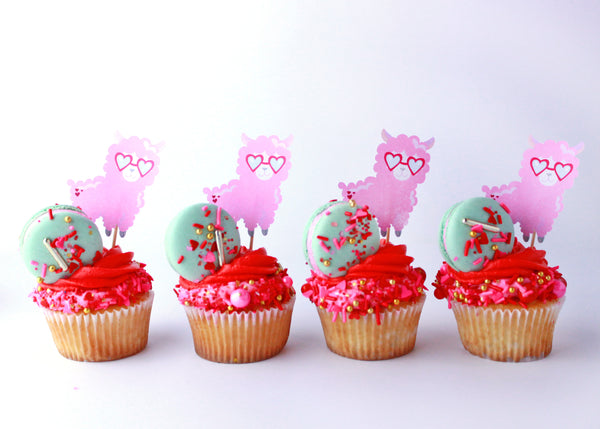 Llama Valentine's Day Cupcake with Sprinkles