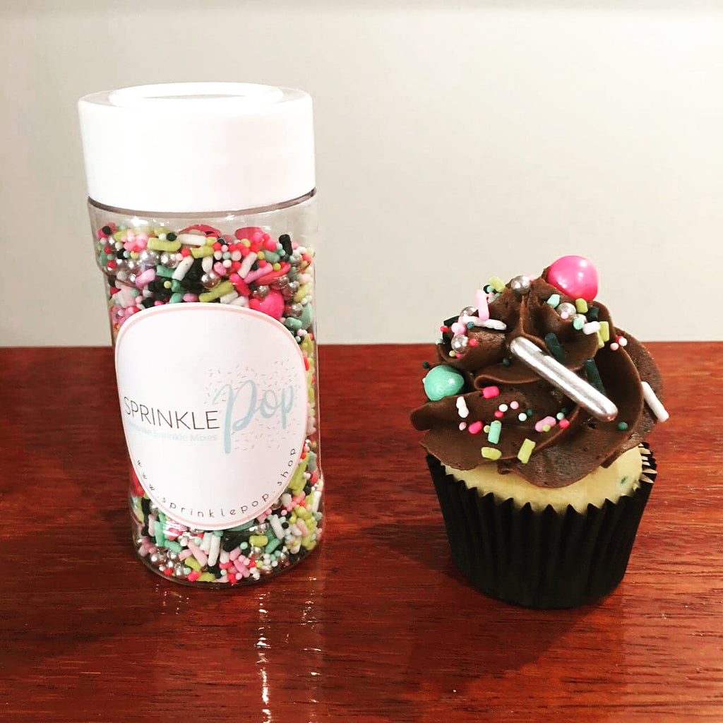 Vanilla Cupcake with Chocolate Frosting and Nursery Rhyme Sprinkle Mix