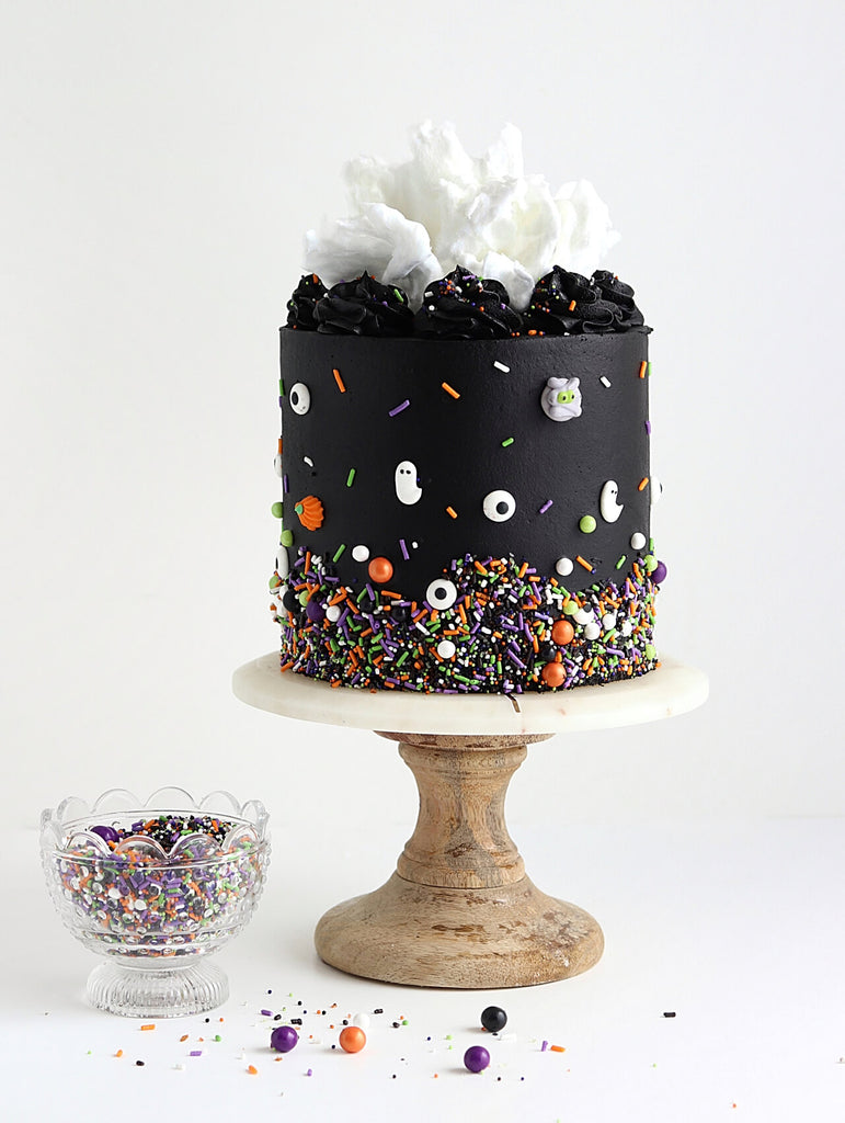 halloween cake with monster mashup sprinklepop sprinkles
