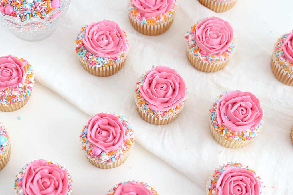 spring cupcakes with sprinkles
