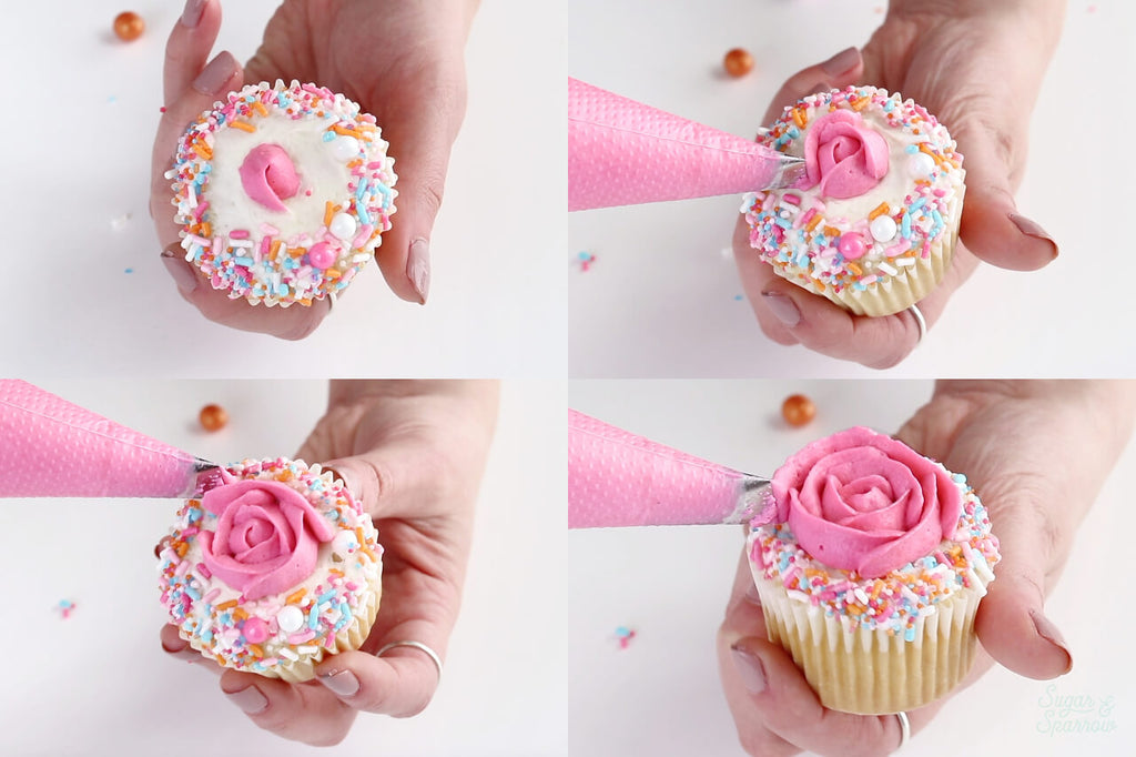 how to pipe buttercream roses on cupcakes
