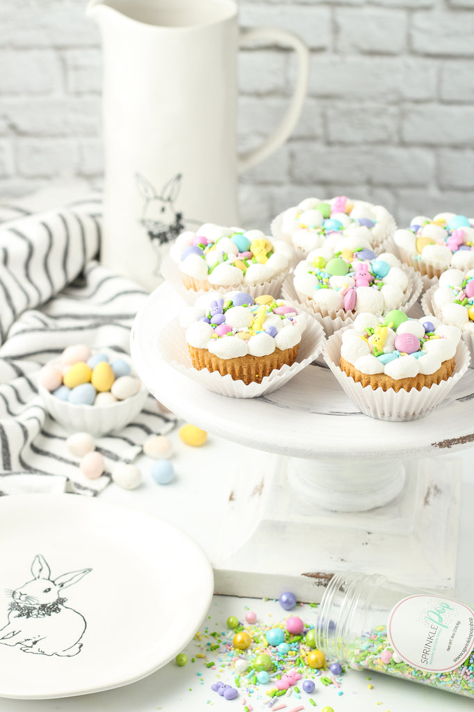 Spring Surprise Cookie cups made in muffin tins with marshmallows on top