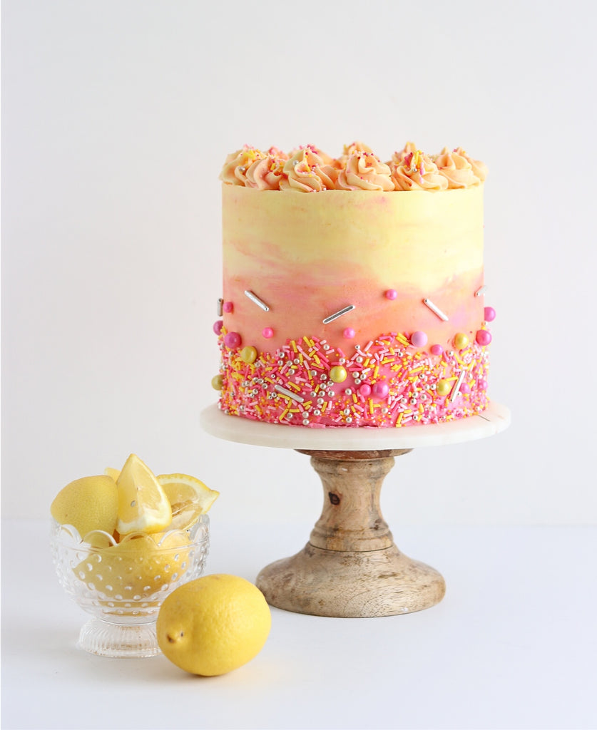 Strawberry Lemonade Cake with sprinkles