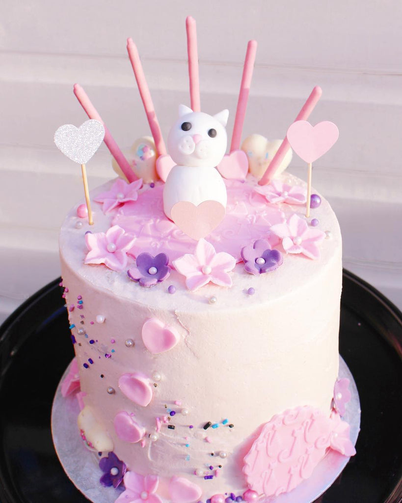 Pink Kitty Cake with Sprinkles
