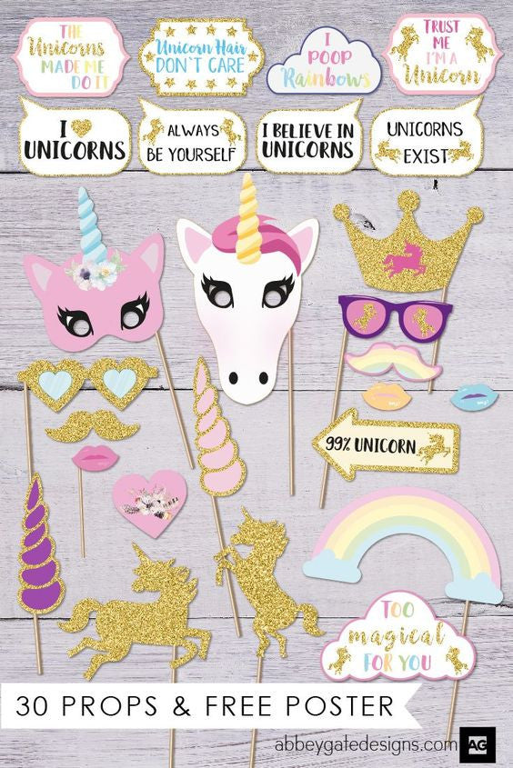Unicorn Birthday Party Photobooth Props