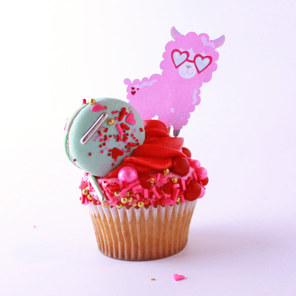 Valentine's Day Cupcake with Sprinkles and Llama