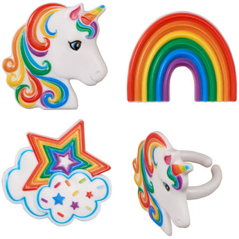 Rainbow Unicorn Assortment Cupcake Rings