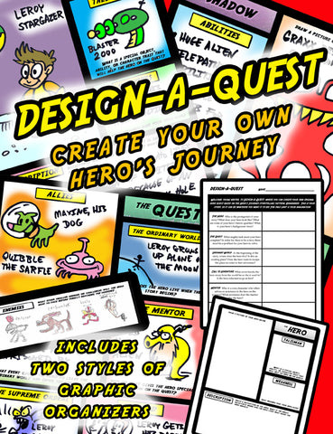 Design-a-Quest:  Making Your Own Hero's Journey Graphic Organizer Bundle + The Hero's Journey Presentation Using Disney's Aladdin