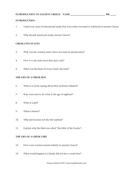 Introduction to Ancient Greece Reading Packet + Questions + Key