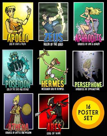 Greek Mythology God and Goddess Posters (Free Shipping)