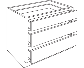 "3DB24 -BASE 3 DRAWER CABINET - 24"" WIDTH - 34.5"" HEIGHT - 24"" DEPTH - WHITE PAINT"