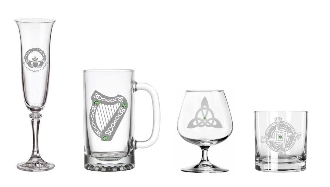 hand carved Irish glassware