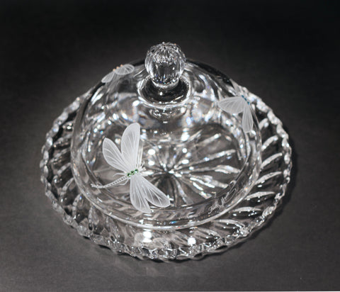 Dragonfly Crystal Butter Dish