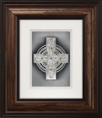 Celtic Shield — Framed Hand-Carved Fine Art Glass