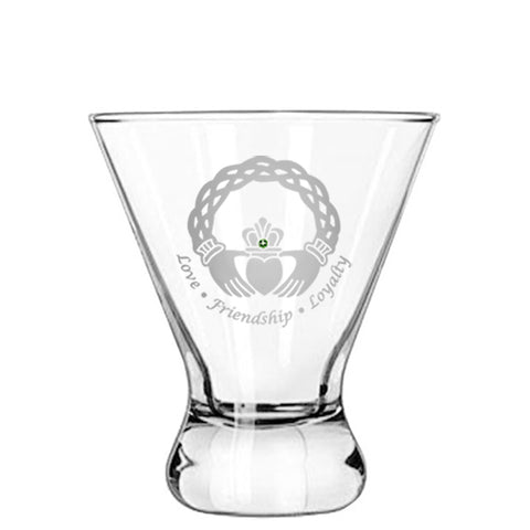 Celtic Claddagh Modern Cocktail Glass
