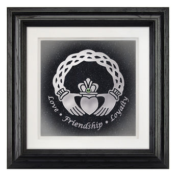 celtic claddagh frmaed hand-carved fine art glass