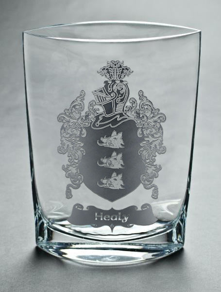Family Crest Carved on a Large Mouth-Blown Vase