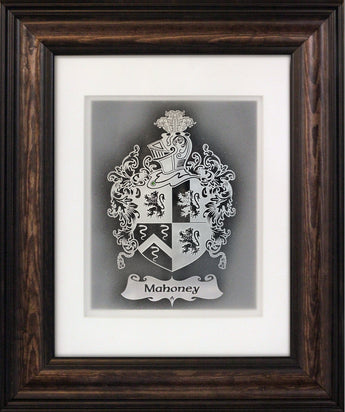 Family Crest — Framed Hand-Carved Fine Art Glass