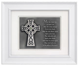Celtic Cross with Irish Blessing — Framed Hand-Carved Fine Art Glass