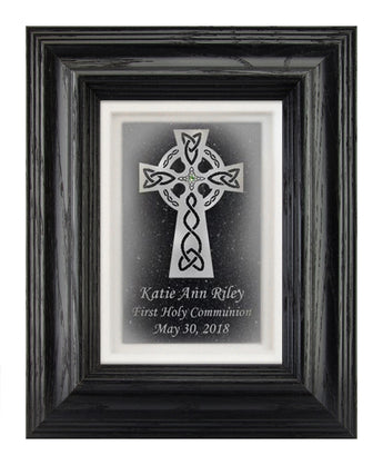 Celtic Cross with Custom Text — Framed 5x7