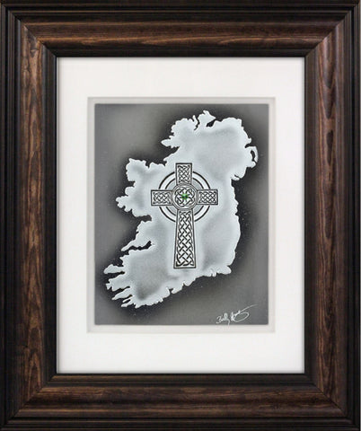 Cross Over Ireland — Framed Hand-Carved Fine Art Glass