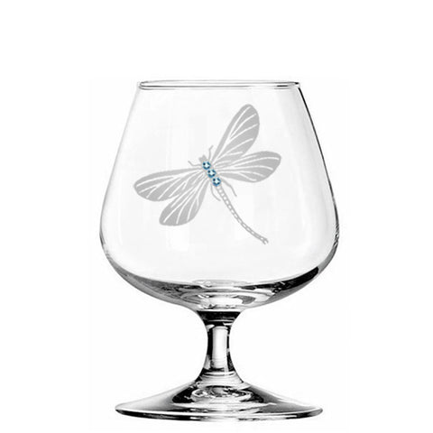 Dragonfly Brandy Glass