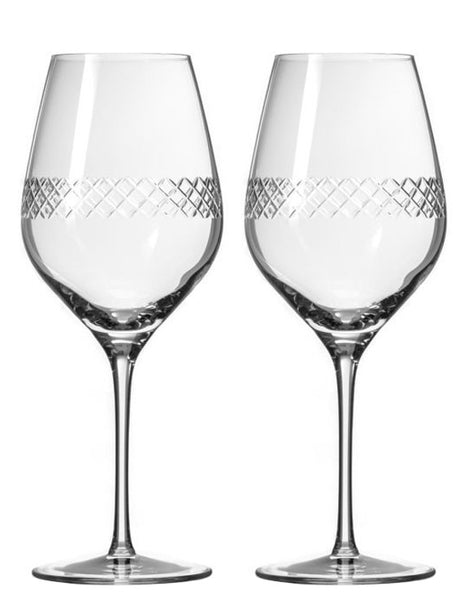Diamond Pattern Red Wine Glasses (Set of 2)