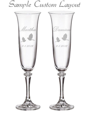 Custom Doves Champagne Flutes (Set of 2)