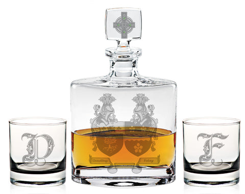 Dual Family Crest Flask Decanter Set