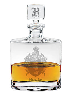 Family Crest Flask Style Whiskey Decanter