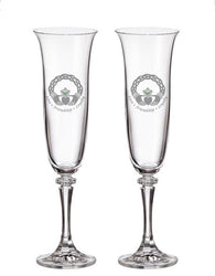 Celtic Claddagh Platinum Champagne Flutes (Set of 2)