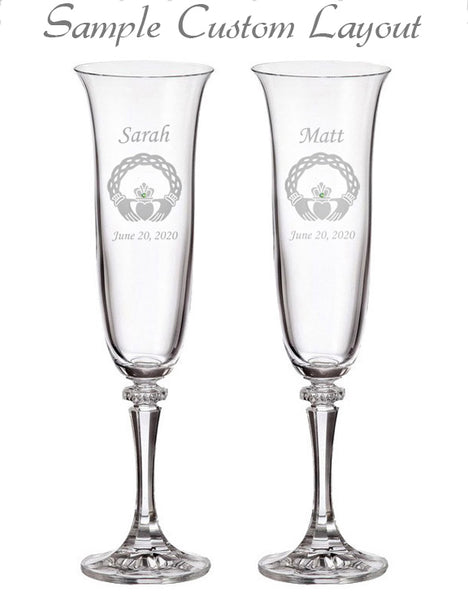 Custom Celtic Claddagh Champagne Flutes (Set of 2)