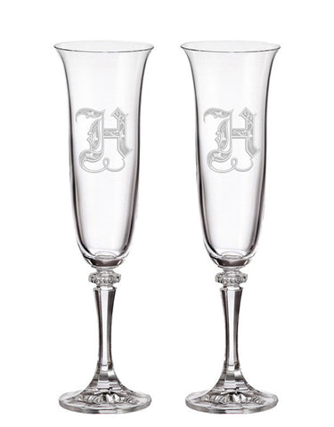 Regal Initial Champagne Flutes (Set of 2)