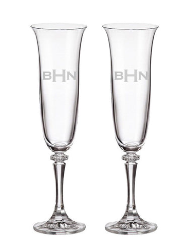 Block Monogram Platinum Collection Champagne Flutes (Set of Two)