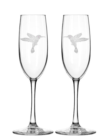 Hummingbird Champagne Flutes