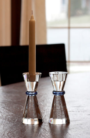 Facet-cut Blue Cobalt Candle Holders (Set of 2)